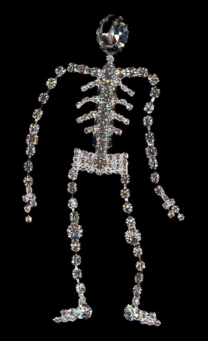 Dancing Skeleton Rhinestone Brooch