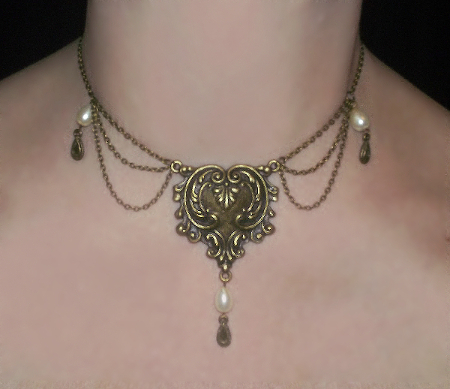 antique necklace floral pc shop gold pearl htm detail and yellow in enamel ct with victorian