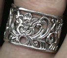 Wide Sterling Floral Filigree Ring